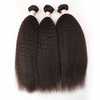 paquetes de cabello yaki al por mayor-Brasileña rizada pelo liso armadura 3pcs / lot luz gruesa Yaki paquetes de cabello humano italiano Yaki pelo liso G-EASY