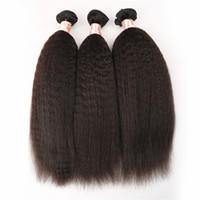 Wholesale coarse yaki hair - Brazilian Kinky Straight hair Weave 3Pcs lot Light Coarse Yaki Human Hair bundles Italian Yaki Straight Hair G-EASY