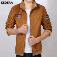 Wholesale Short Brown Leather Jackets - Wholesale- 2016 Men leather winter jacket wool clothing trench style Genuine Leather coat with fur cashmare coat motorcycle jacket