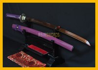 Wholesale Ornaments Decorate - COLLECTION SWORD for decorate Full Tang 100% Authentic Handmade T10 1095 Red Steel Japanese Samurai Katana Dragon Purple Ninja Sword #173