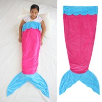 ingrosso sacco a pelo blu viola-140CM Sacco a pelo per ragazza Double Layer Mermaid Tail Sleeping Bag Blu Rosa Viola Sacco a pelo per bambini