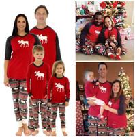 Wholesale family matching winter clothes - Matching Family Pajams Christmas Pajamas Family Matching Clothes Pajamas Sets Mother Daughter Father Son Sleepwear Nightwear Xmas Elk Wears