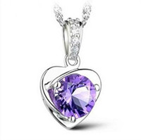cheap purple necklaces UK - Fashion Women Cheap 925 Sterling Silver Plated Necklace Love Heart Charm Floating Locket White Purple Austrian Crystal Pendant Necklaces