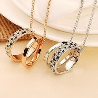 Wholesale Double Leopard Necklace - 1pc Fashion Eternal Love Double Ring Pendant Leopard Necklace For Couples C00414