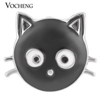 Wholesale Black Cat Paintings - VOCHENG NOOSA 18mm Black Cat Ginger Snap Hand Painted Interchangeable Jewelry Vn-1272