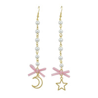 Cute Lovely Gold-Color Long Chain Avec Simulated-pearl Pink Bowknot Moon Star Shape Drop Earrings Pour Femmes Accessoires