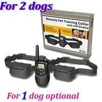 Wholesale Remote Electric Pet Training Collar - For 1  2 dog 300M Remote pet Training collar 100LV Shock + Vibra Remote Electric Dog Training Collar with LCD display