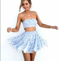 Wholesale Dresses Women S Bow Strapless - Drop shipping sequin 2 pieces summer sundress girls mini dress elegant bow tie back strapless prom party sexy women dress blue