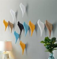 Wholesale Bird Hanger - Creative wall hooks bird decoration Resin wood grain hooks bedroom door after animals Hooks 3D coat hook single wall hanger L50