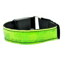 correa de cinturón reflectante de seguridad al por mayor-Al por mayor-caliente LED de seguridad reflectante Shine Belt Strap Snap Wrap brazalete banda para correr Jogging Sports 7YH
