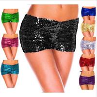 leggings de clubwear sexy venda por atacado-Lantejoulas Shorts Casual Leggings de Verão Mulheres Calças de Dança Elástica Magro Calças de Segurança Sexy Calções Clubwear Roupas Femininas OOA3207