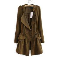 Wholesale Coat For Office Women - Fashion 2016 Korean style Office elegant khaki drawstring Waist Long trench coat for women Casual brand windbreaker female