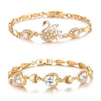 Wholesale Platinum Swan - Platinum plated bracelet Fashion Swan Women Bracelets Classical 18K Gold Plated Cubic Zircon Link Chain Bracelet Wholesale