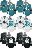 Wholesale 48 Sharks Jersey - 2016 Wholesale Men's San Jose Sharks #88 Brent Burns #48 Tomas Hertl Black  White  Green 2016 Stanley Cup Final Bound Jerseys
