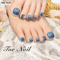 Wholesale Elegant Nail Tips - Wholesale- 2016 Elegant Blusky False Toe Tips 24 pcs Luxury 3d Toe Decoration Toe Nails Tips Faux Ongle Toenails Peacock False Fingernails