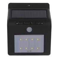 düğme anahtarı düğmesi toptan satış-DHL ile nakliye LED güneş duvar ışık güneş paneli ile PIR sensörü sadece gece çalışan iğne delik veya düğme anahtarı