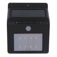 interrupteur led achat en gros de-Envoi via DHL Applique murale à LED solaire avec panneau solaire Le capteur PIR fonctionne uniquement dans un trou d'aiguille de nuit ou un bouton