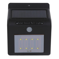 parede de botão venda por atacado-Transporte via DHL LED luz de parede solar com painel solar sensor PIR só trabalhando em buraco de agulha de noite ou interruptor de botão