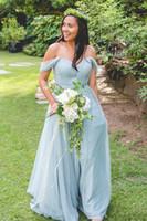 uzun kollu açık mavi gelinlik toptan satış-Açık Mavi V Yaka A-line Uzun Gelinlik Modelleri Cap Sleeve Tül Pleats Düğün Konuk Elbise Sweep Tren Fermuar Geri Uzun Gelinlik Modelleri
