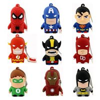 Wholesale Character Flash Drives Wholesale - Gift Novelty Superhero Cartoon Character USB Flash Drive Supe Hero Bulk Cheap 2GB 4GB 8GB 16GB PVC Spiderman Batman Cartoon USB Memory Stick