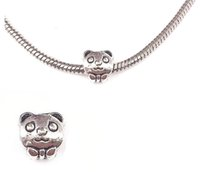 Wholesale Diy Accessories Beaded Necklace - fashion Silver plated panda pendant Big Hole Loose Beads Pandora DIY Jewelry Bracelet Pendant European Beaded Bracelet Necklace accessories