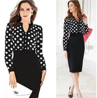 Wholesale Black Work Shirt - Wholesale Fashion Women Casual Dress Striped Black Polka Dot Chiffon Blouse High Waist Pencil Dresses for OL Work Suits Slim Elegant Lace