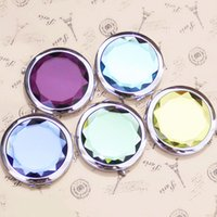 Wholesale Crystal Decorative Items - Metal Pocket Mirror Makeup Fold Round Crystal Compact Mirror Portable Cute Item for Promotion Personalized Wedding Gifts