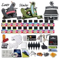 Wholesale Top Tattoo Inks - Details about Top Tattoo Kit 2 Machine Gun 20 USA color Inks Tip Power Supply Set 50 Needle 10-24GD-13