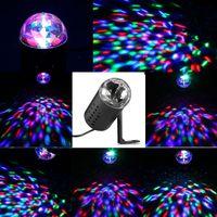 Wholesale Laser Rotating Lamp - Professional EU Plug 3W LED RGB Stage Light Auto Rotating Crystal Laser Disco Lighting Lamp DJ LED Bulb Party Dancing Lamp