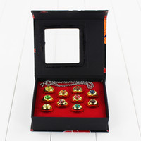 Wholesale Naruto Akatsuki Rings - Anime Cartoon Naruto Rings Akatsuki Member's Cosplay Finger Rings 10pcs Set 1.9cm free shipping retail