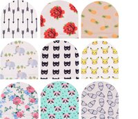 Wholesale Pineapple Knit Hat - INS Kids knitted purified cotton hats children fashion cartoon caps pikachu pineapple panda Flowers printed Baby caps L001