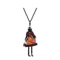 Wholesale woman fashion doll dresses - Lovely Dress Doll Necklace Pendants Jewelry Fashion Kids Pendant KeyChains Bag Charms Kroea Style Accessories Women Gifts Wholesale