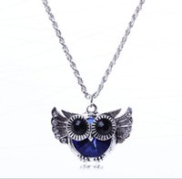 Moda Blue Austrian Rhinestone Crystal Owl Wing Colares Pingentes Silver Long Chain Para Mulheres Animal Statement Jewelry