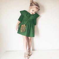 Wholesale High Waist Pans - New Designed Girls Cotton Dress Cute Peter Pan Collar Half Sleeve High Waist A-line Casual Summer Dress Girl's Clothing