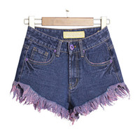 Wholesale High Waist Distressed Jeans - Bohemian Tassels Shorts High Waist Distressed Mini Jeans Pants Casual Summer Denim Shorts Plus Size BSF0368