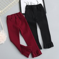 Wholesale Korean Brand Boots - Everweekend Girls Pocket Ruffles Boot Cut Cute Baby Red and Black Color Pants Lovely Kids Western Korean Fashion Autumn Pants