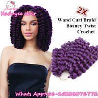Wholesale Curling Wand For Hair - 8'' 20strands Jumpy Wand Curl Jamaican Bounce Synthetic Kanekalon fiber synthetic crochet brands water wave bulk hair peice for black