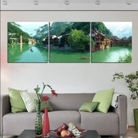 Unframed 3 Pieces picture Decoración de pared Lienzo Prints Pearl Fruits abstract flower Uva Cherry Bamboo ship faro mountain river