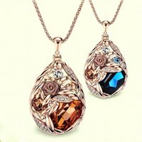 Wholesale wheat pendants resale online - 2016 hot sale fashion sweater chain crystal water drop wheat pendant long sweater chain necklace for women