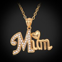 Wholesale Mum Necklaces - U7 Love Gift for Mother MUM Letters Heart Pendant Necklace 18K Real Gold Platinum Plated Rhinestone Fashion Women Jewelry Accessories