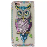 Wholesale Iphone 4s Fashion Wallet - For Iphone 6 6S Plus 6+ 5 5S SE 5C 4 4S Owl tiger Lion Fashion skin Flip wallet stand Leather case TPU Gel Rubber Card cover cases 1pcs 5pcs