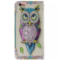 Wholesale 5c wallet cases online - For Iphone S Plus S SE C S Owl tiger Lion Fashion skin Flip wallet stand Leather case TPU Gel Rubber Card cover cases