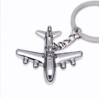 Wholesale Wholesale Airplane Keychains - 200pcs lot 2016 New Zinc Alloy 3D Airplane Model Keychains Metal Novelty Plane Keyrings FREE SHIPPING BY DHL