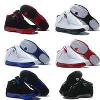 Wholesale High Leather Boots Men - 2016 high quality air retro 18 basketball shoes man red Black white blue retro XVIII sport shoes Breathable Jogging Sneakers Trainers Boots