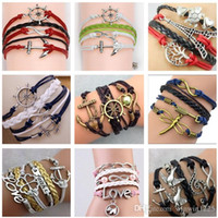 Wholesale Pearl Infinity Bracelet - 2017 54 styles bracelets infinity bracelets Love Believe Pearl Friendship Charm Multilayer Charm Leather Bracelets for women