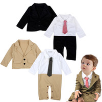 blazer cute - Baby Boys cute Jumpsuit sets Little Gentlemen pc sets long sleeve necktie Jumpsuit cute blazer coat Infants Xmas Outfits sets baby gifts