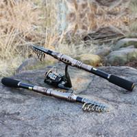 Wholesale Vara Lure - Handle is retractable 2.1m 2.4m 2.7m 3.0m Fishing Rod Set and Metal Spoon Reel Lure Spinning Fishing Reel vara de pesca carbon fiber