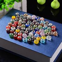 Wholesale Heart Big Glasses - Big Hole glass Loose Beads crystal charm For Pandora DIY Jewelry Bracelet