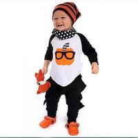 Wholesale Toddler Boys Halloween Shirts - INS Toddler boys Halloween outfits Cartoon pumpkin printing T-shirt+Dinosaur pants 2pcs set Cotton baby outfits kids Clothes C1193