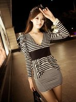 Wholesale Stripe Layer Dress - New Spring Autumn Womens Sexy V neck Black White Stripe Casual Dress Long Sleeve Peplum Layers Bodycon Slim Mini Dress